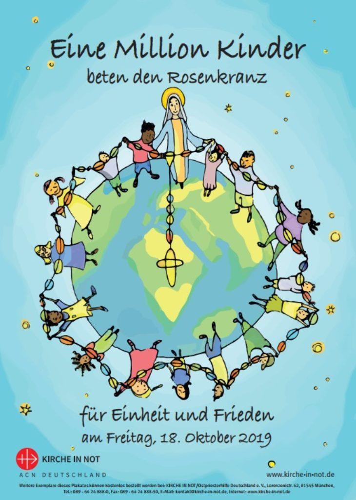 """Plakat zur Aktion - """"Eine Million Kinder beten den Rosenkranz"""" 2019"""