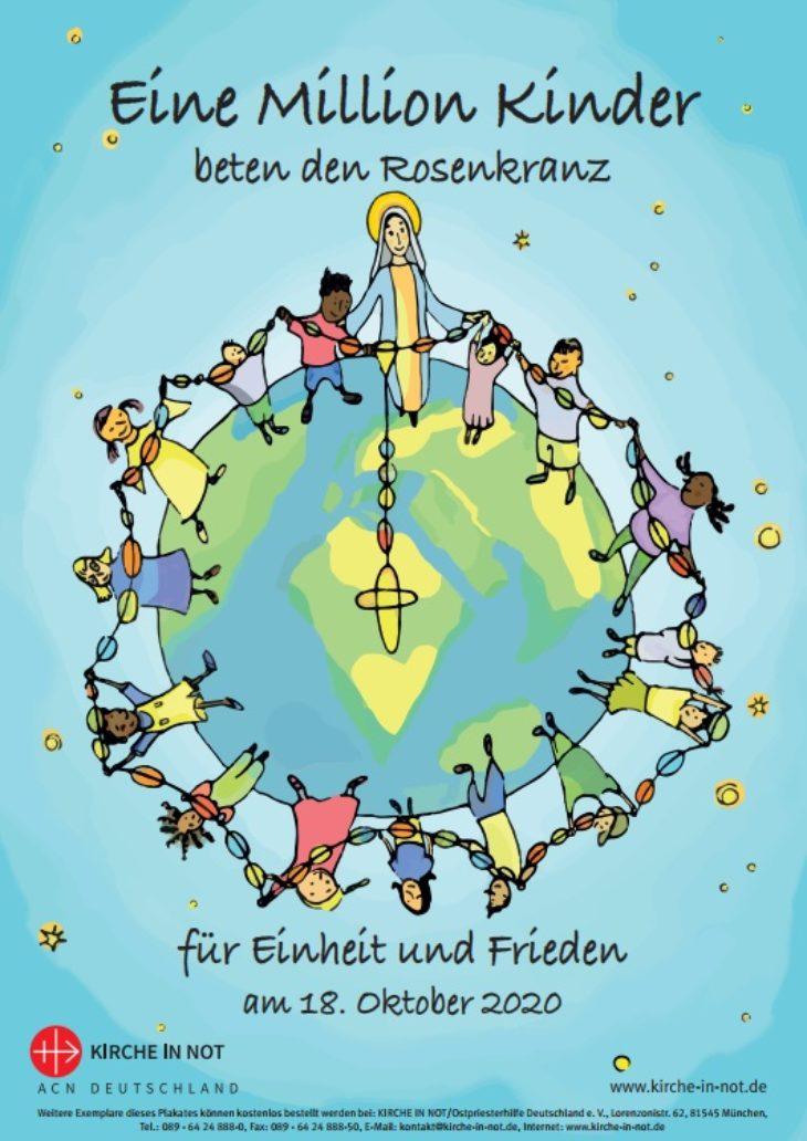 """Plakat zur Aktion - <br/>""""Eine Million Kinder <br/>beten den Rosenkranz"""" 2020"""