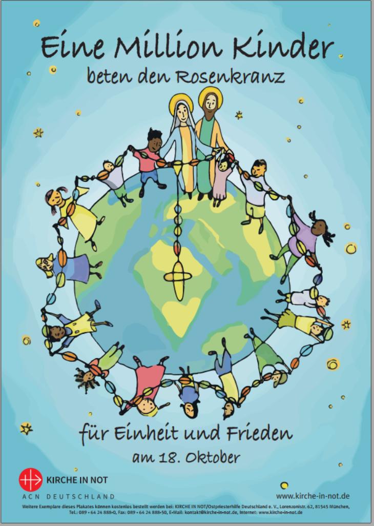 """Druckversion - Plakat A3 zur Aktion - <br/>""""Eine Million Kinder <br/>beten den Rosenkranz"""" 2021"""